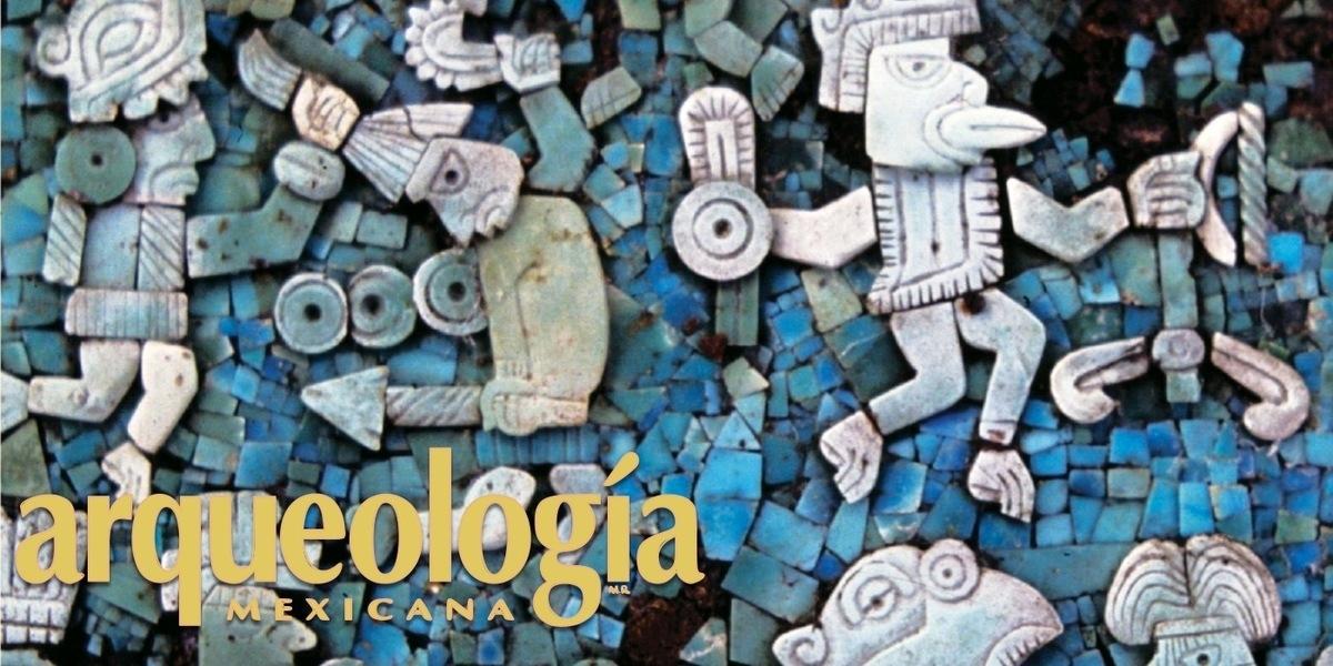 Máscaras, escudos y tablas con mosaicos de turquesa en Oaxaca y Puebla