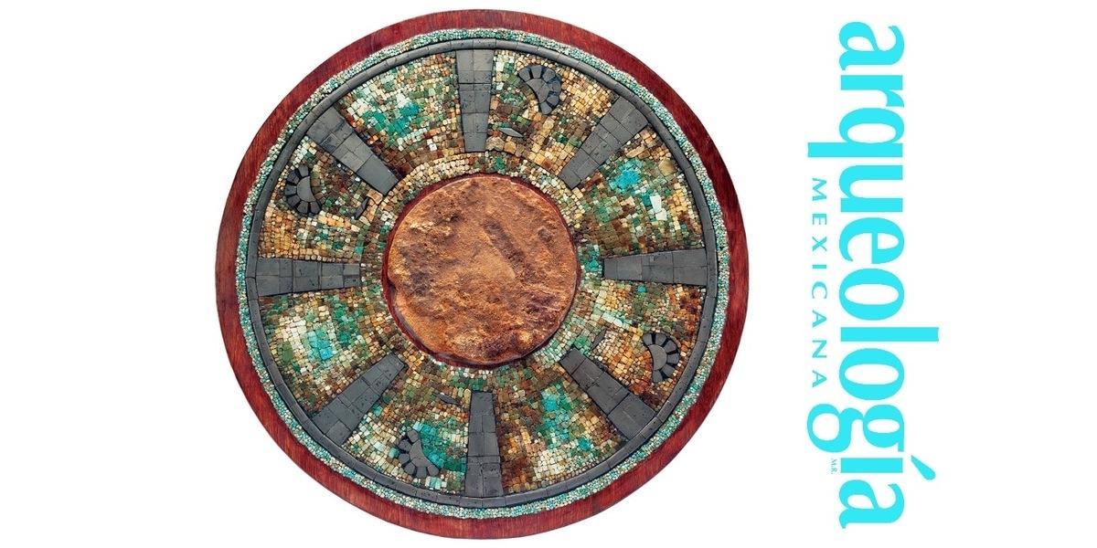 Un disco de mosaico de turquesa del Palacio Quemado de Tula ...