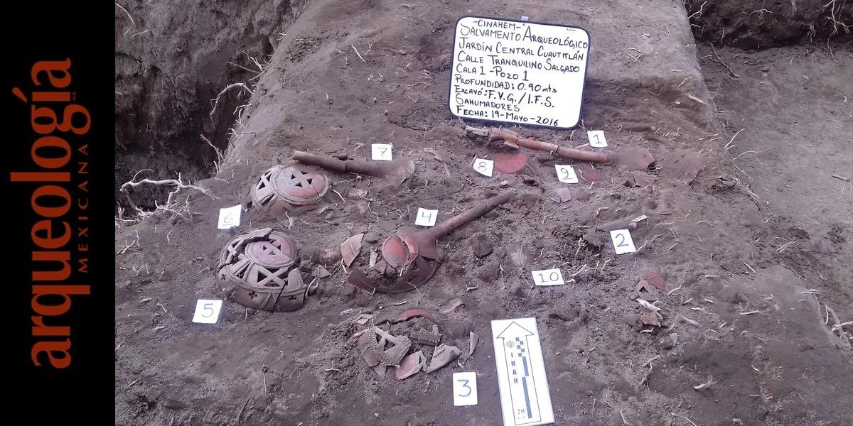 Ofrenda de sahumadores prehispánicos en Cuautitlán, Estado de México